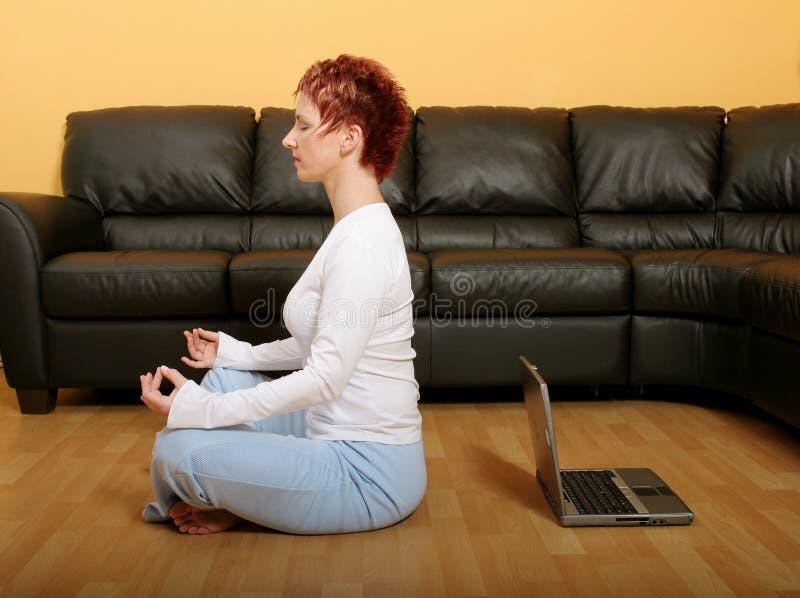 Meditatie en Technologie royalty-vrije stock afbeelding