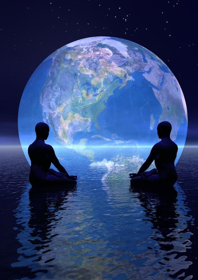 Meditatie voor aarde royalty-vrije illustratie