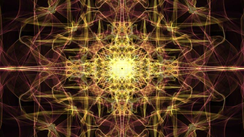 Meditatiemandala in gouden, levende fractal patronen, videotunnel op zwarte achtergrond Geanimeerd symmetrisch ornament voor stock illustratie