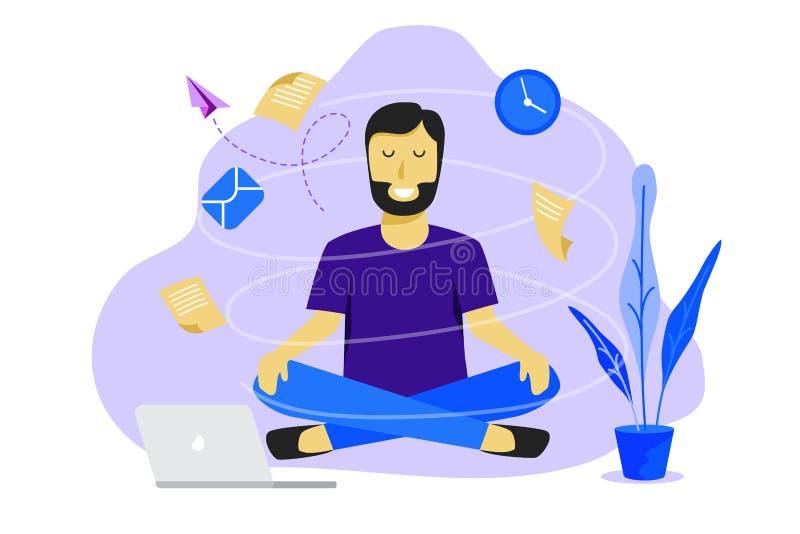 Meditatiemens op het werk Bedrijfs het werk ontwerpconcept vector illustratie