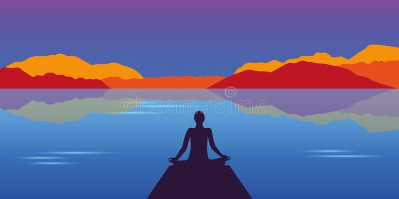 Meditatiesilhouet bij mooi meer en berg de herfstlandschap stock illustratie