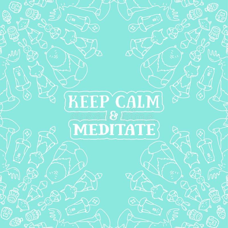 Meditatieve Dierenreeks stock illustratie