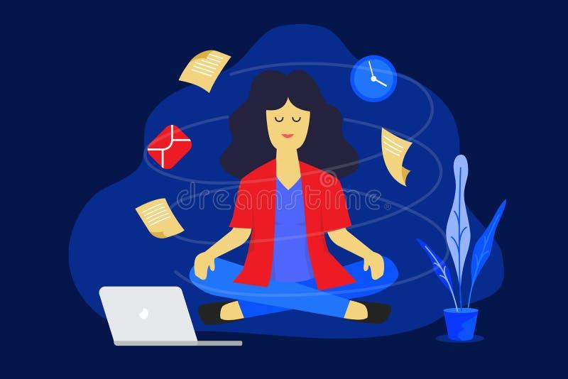 Meditatievrouw op het werk Bedrijfs het werk ontwerpconcept Vector illustratie vector illustratie