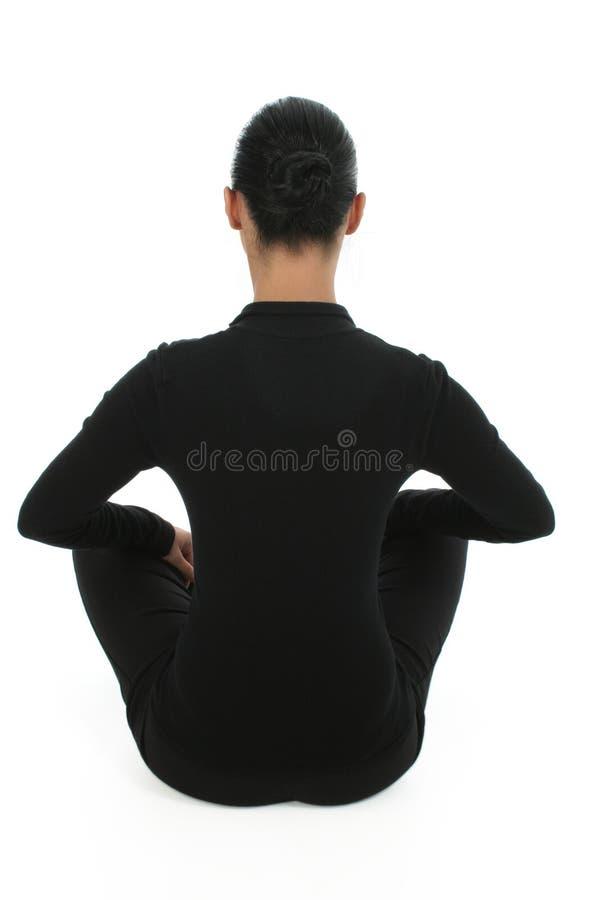meditating γυναίκα πατωμάτων στοκ εικόνα με δικαίωμα ελεύθερης χρήσης