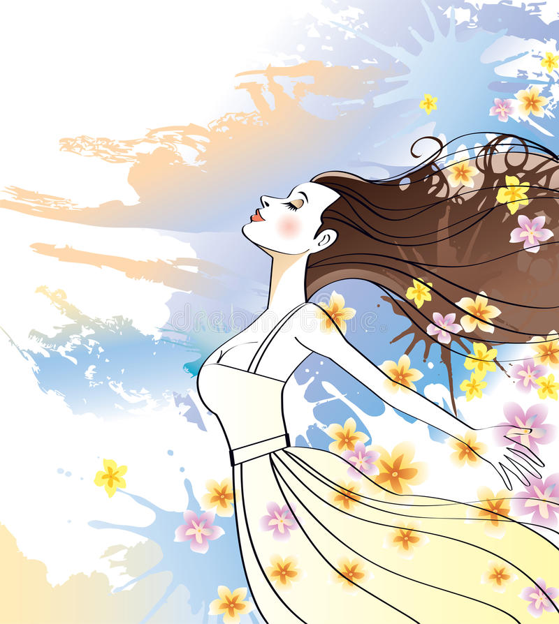 meditating женщина иллюстрация штока