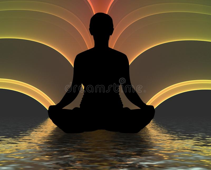 meditating силуэт бесплатная иллюстрация