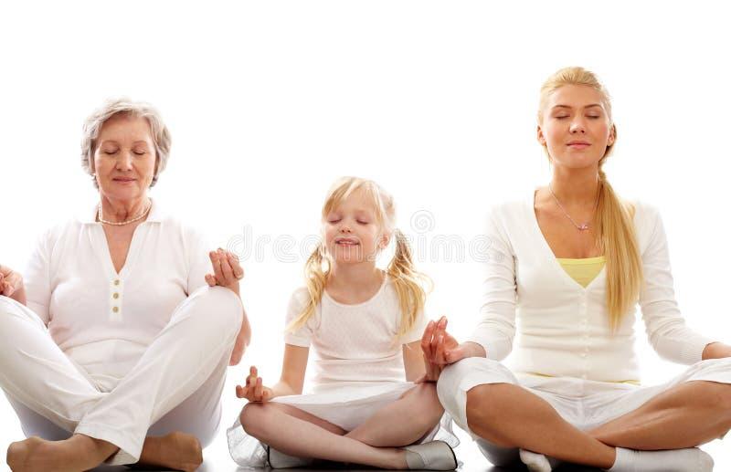 Download Meditating stock image. Image of girl, grandmother, grandchildren - 13966843