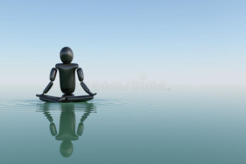 Meditating in acqua royalty illustrazione gratis