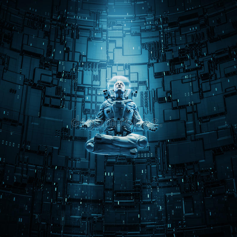 Meditating astronaut concept. 3D illustration of astronaut in lotus pose under beam of light stock illustration