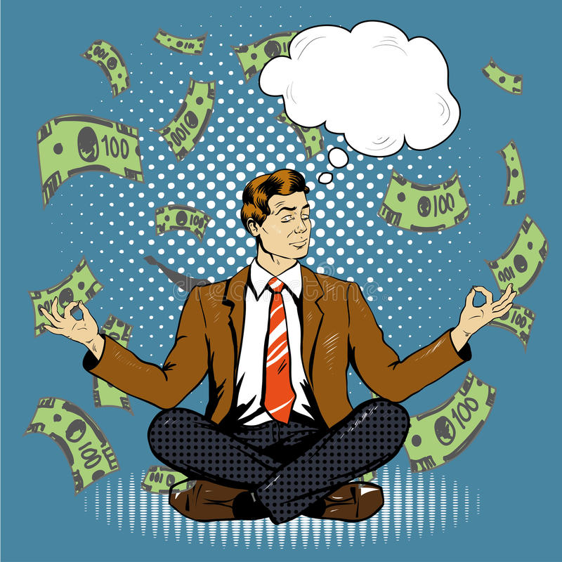 Meditating businessman with speech bubble in retro pop art comic style. Money flying around vector illustration