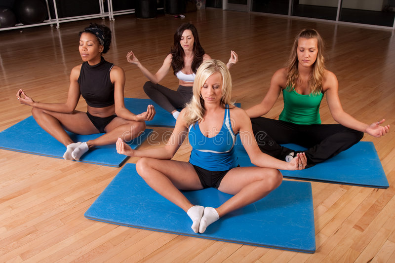 Download Meditating Friends In Class Stock Photo - Image: 9228376