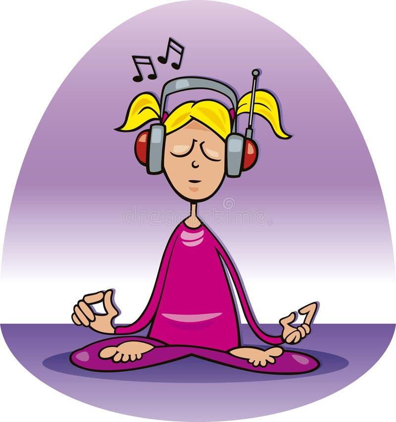 Meditating girl stock illustration