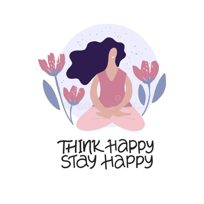 Meditating girl platte vectorillustratie Yoga-concentratie en relaxatie-isolatie-ontwerpelement royalty-vrije illustratie