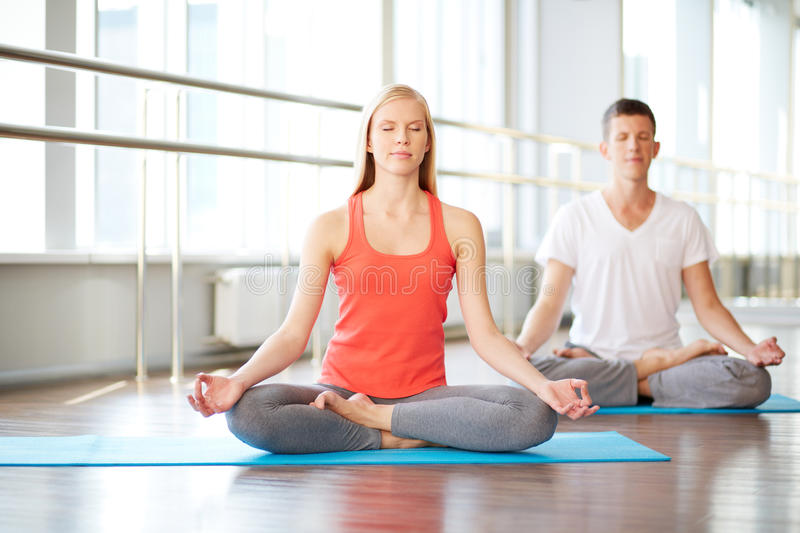 Download Meditating in gym stock photo. Image of handsome, relaxation - 34413948