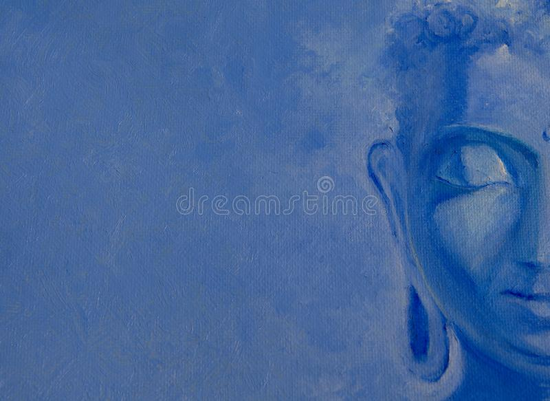 Meditating Lord Buddha on a textured background .Blue shades. Canvas oil painting. Bright textured Modern artwork stock image
