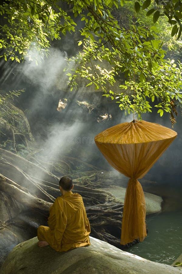 Meditating monk royalty free stock images
