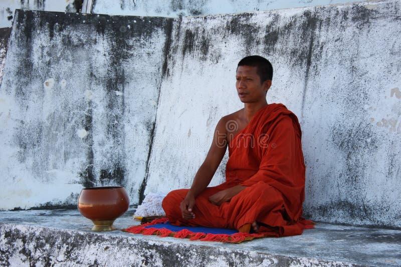 Meditating Monk stock image