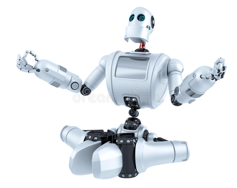 Meditating Robot. Technology concept. Isolated. Contains clipping path. Meditating Robot. Technology concept. Isolated over white. Contains clipping path stock illustration