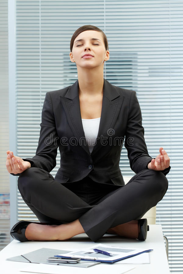 Download Meditating on table stock photo. Image of business, caucasian - 25443868