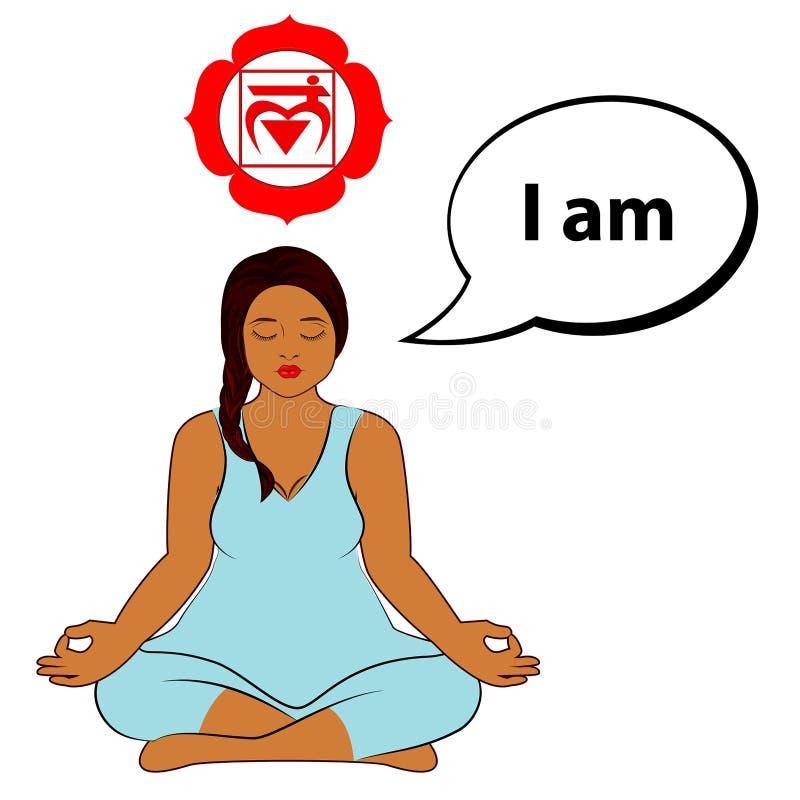Meditating woman. I am - affirmation for chakra Muladhara. stock illustration