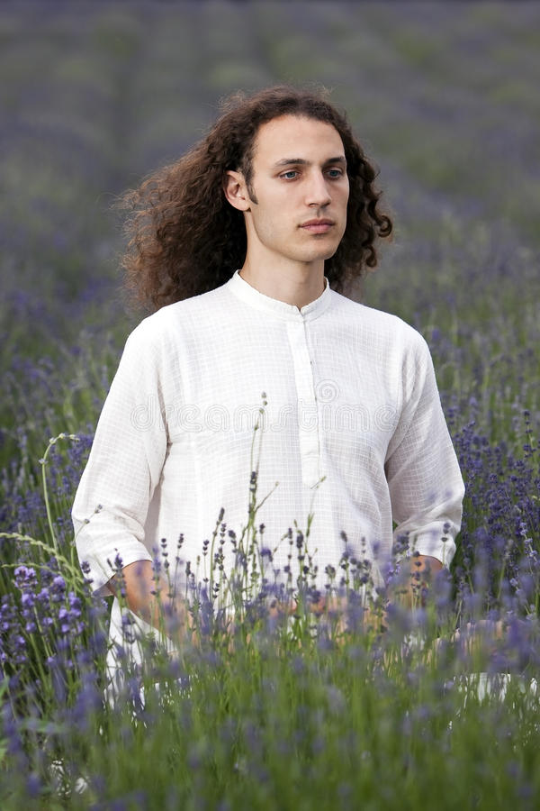 Meditating yogi stock image