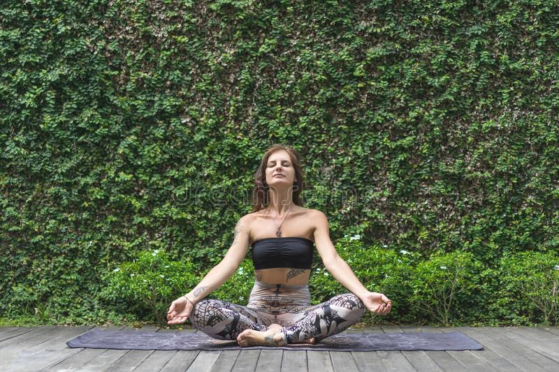Meditating young woman practicing yoga in lotus pose in front of wall covered. With green leaves royalty free stock photo