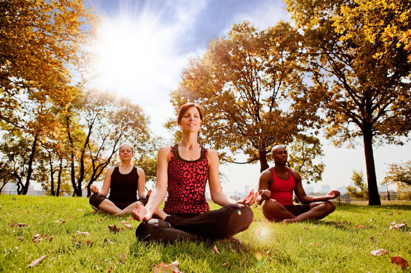 Meditation. A group of people meditation in a city park in the morning - taken into the sun with lens flare royalty free stock photography