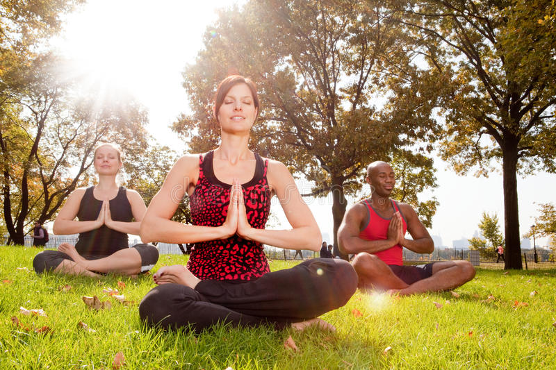 Meditation. A group of people meditation in the park - taken into the sun with lens flare royalty free stock images