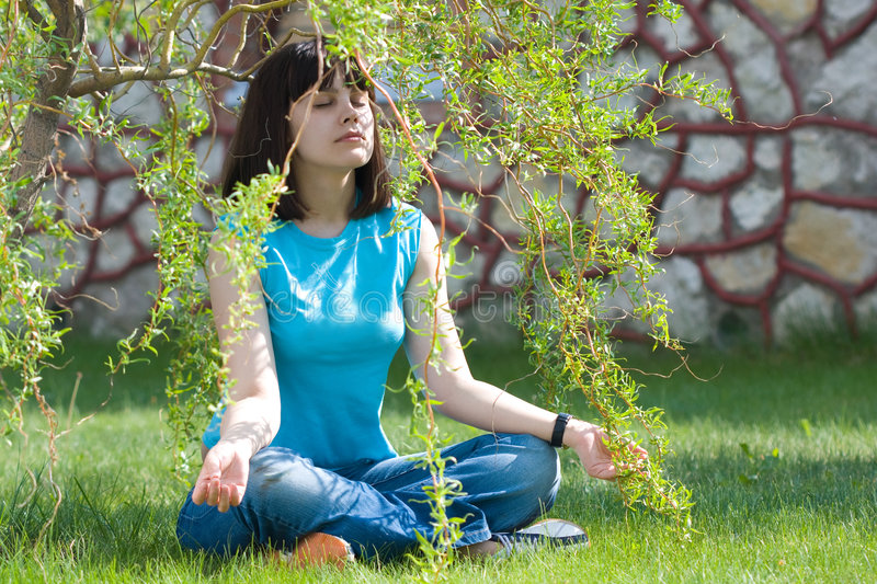 Download Meditation stock photo. Image of young, casual, lawn, girl - 5446596