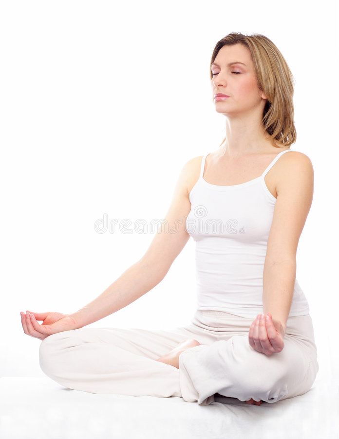Meditation. Young woman relaxing