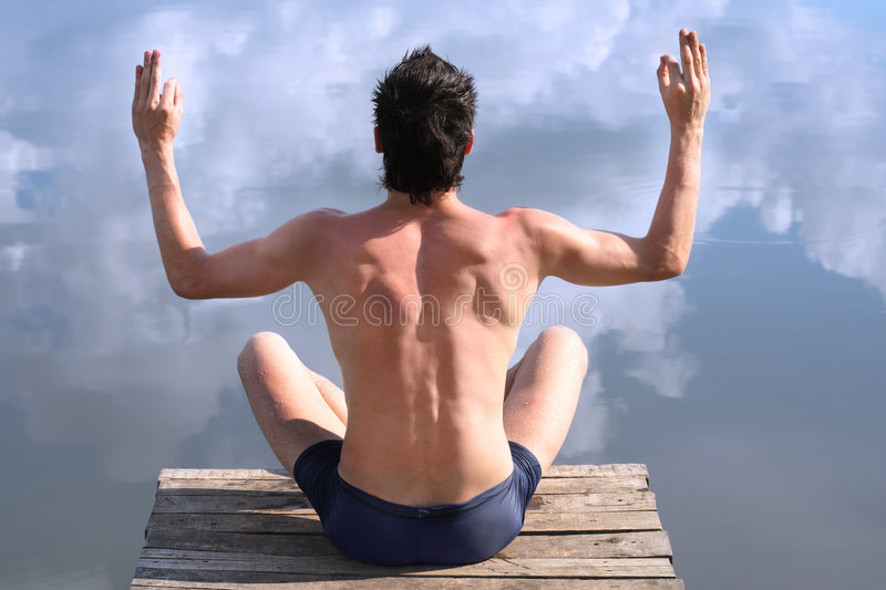 Download Meditation stock photo. Image of muscle, caucasian, blue - 8869032