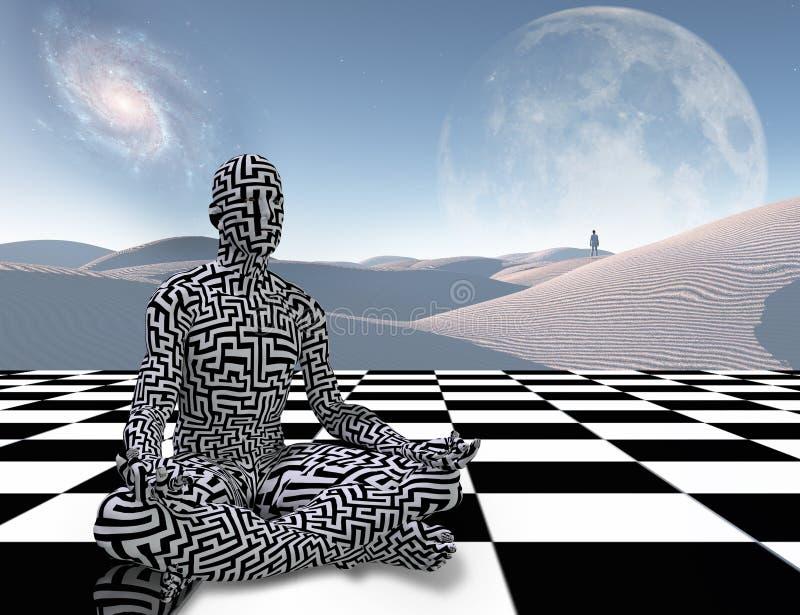 Meditation auf einem Schachbrett lizenzfreie abbildung