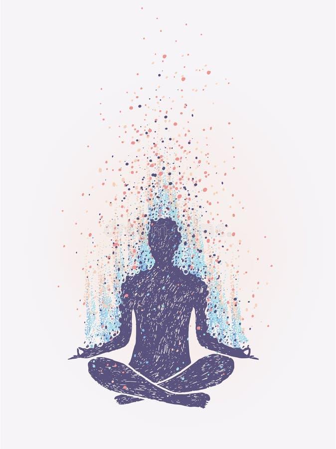 Meditation, Aufklärung Empfindung von Erschütterungen Hand gezeichnete bunte Illustration stock abbildung