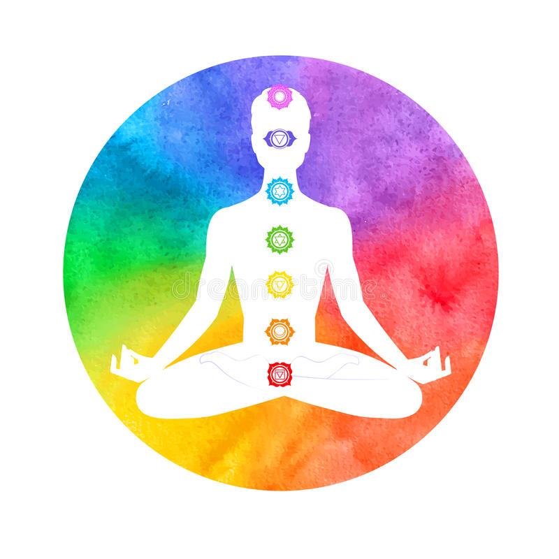 Meditation, aura och chakras royaltyfri illustrationer