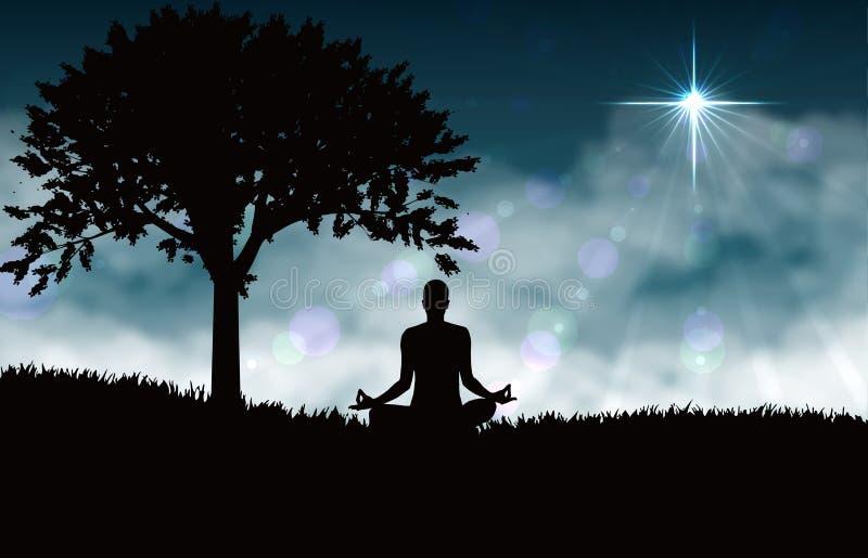 Meditation av yoga royaltyfri illustrationer