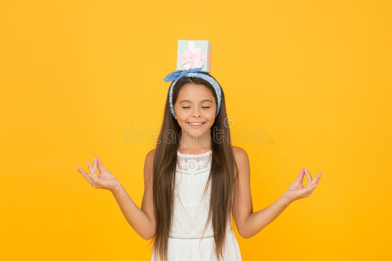 Meditation benefits. Buy gift. Online shopping. Delivery service. Perfect gift concept. Celebrate spring holidays. Cute. Small kid adorable dress. Girl long stock photos