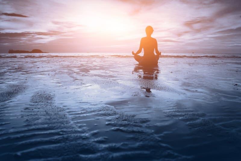 Meditation - blue tone royalty free stock photos