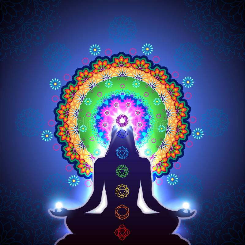 Chakra Meditation Mandala royalty free illustration