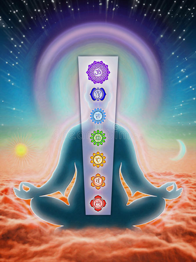 In Meditation With Chakras stock illustration