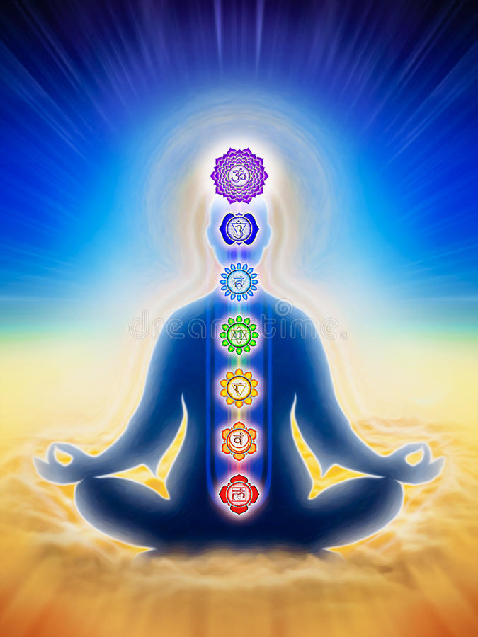 In Meditation With Chakras. Illustration of a meditation aura and chakras stock illustration