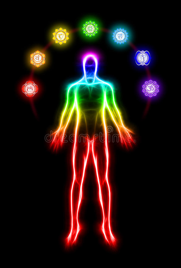 In meditation with chakras stock illustration