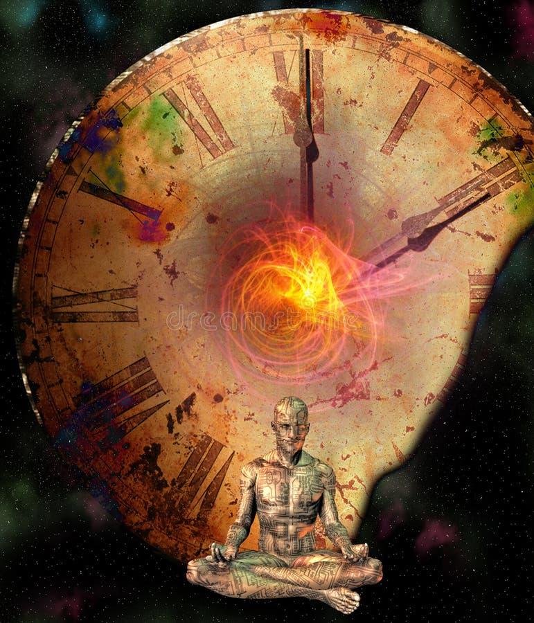 Meditation Comp. Meditation man and clock Comp stock illustration