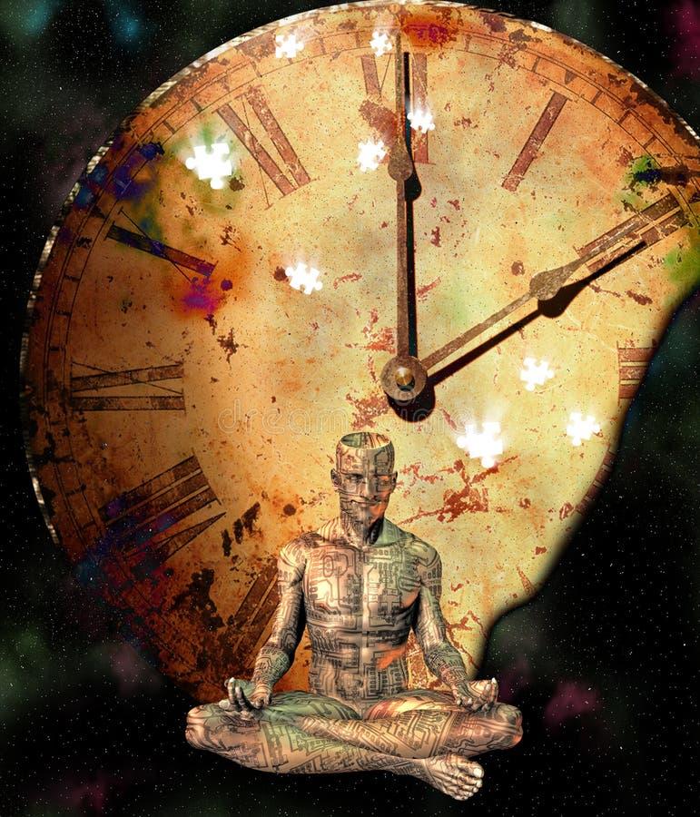 Meditation Comp. Meditation time and puzzle Comp vector illustration