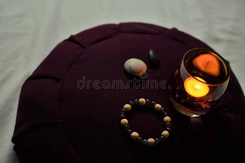 Meditation Cushion Zen Buddhist Meditating Room Spirituality Silence Tranquility royalty free stock photography
