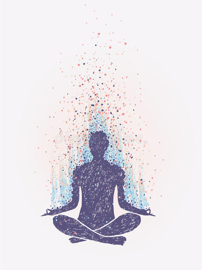 Free Meditation, Enlightenment. Sensation Of Vibrations. Hand Drawn Colorful Illustration. Stock Photos - 92520403