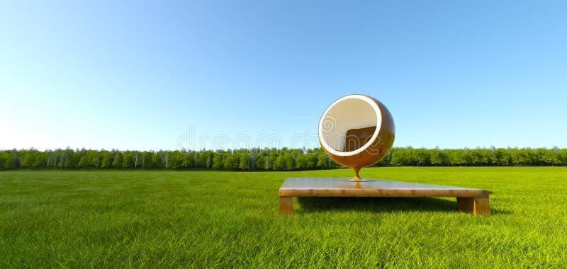 meditation för gräs för bollstolsfält royaltyfri illustrationer