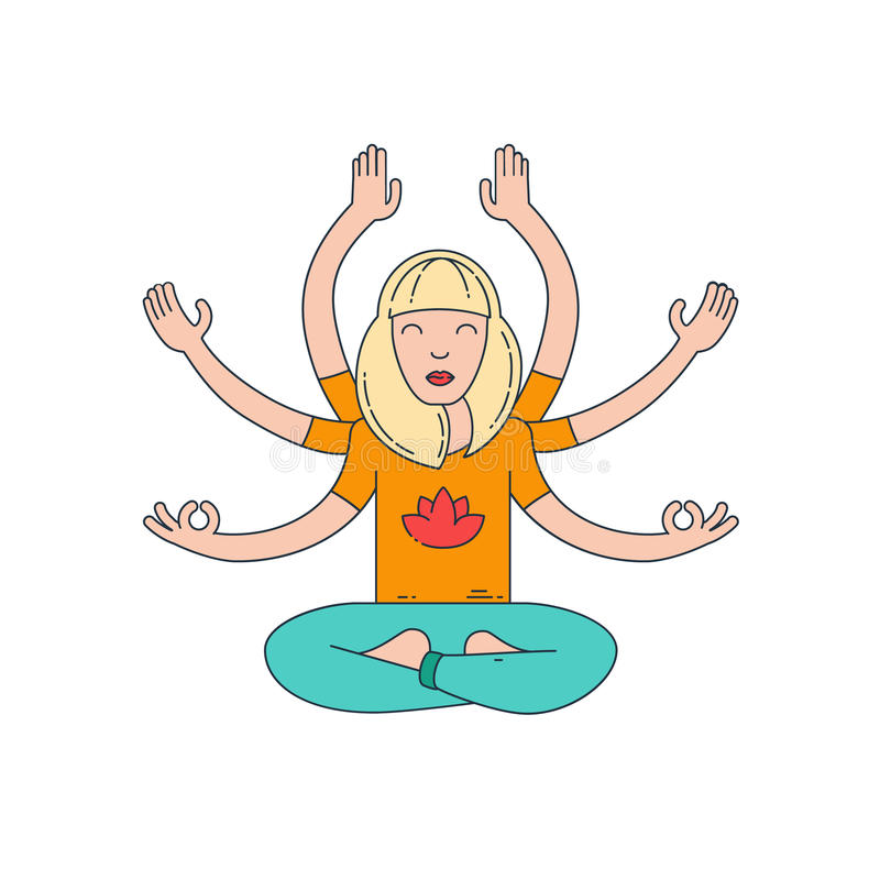 Meditation. Flat line vector illustration vector illustration