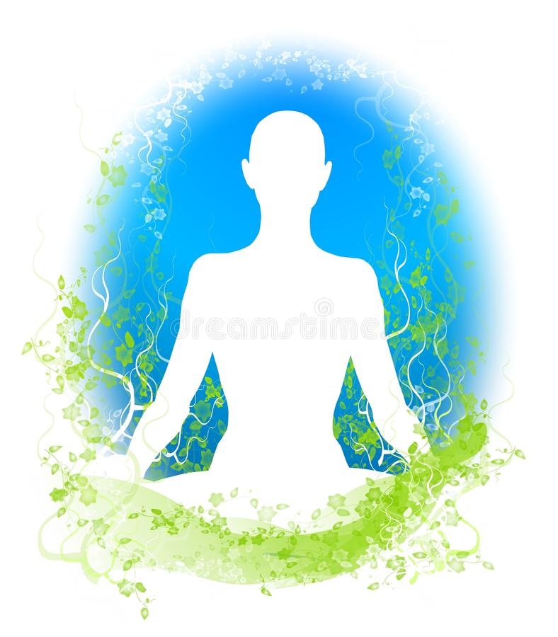 Meditation Garden Silhouette 2. An illustration featuring the silhouette of a person sitting in a vine flower garden meditating in blue green and white royalty free illustration