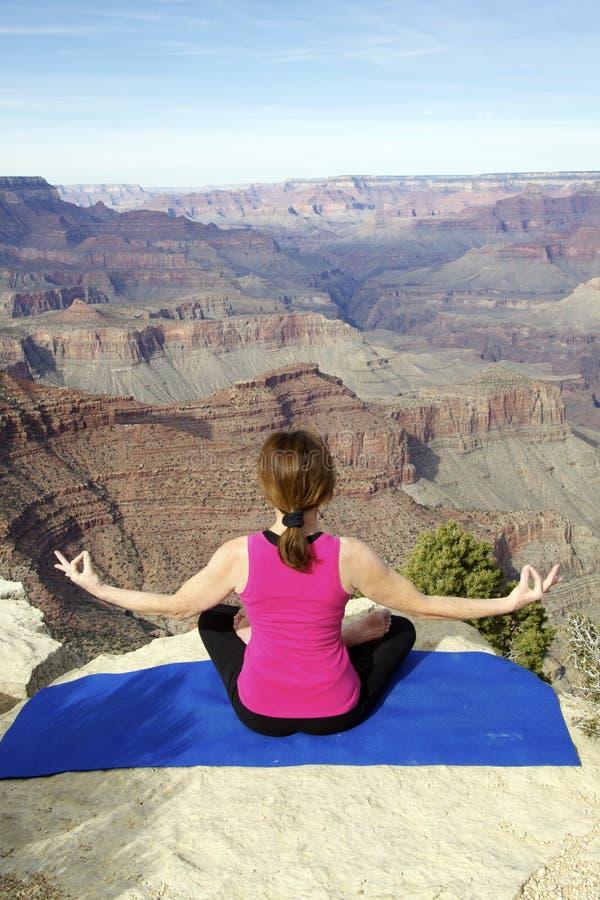 Meditation at Grand Canyon stock photo