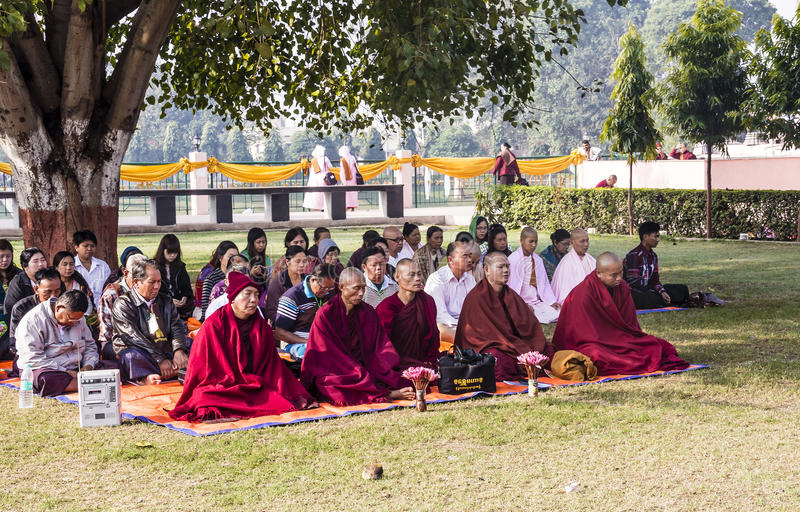 Meditation Group editorial stock image. Image of monks ...
